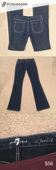 "7FAMK ""A Pocket"" Jeans Size 27. Measures 14"" across waist. 33"" inseam. 7 For All Mankind Jeans Flare & Wide Leg"