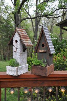 Rustic garden birdhouses with planters. Rebecca's Bird Gardens.