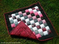 Pink and Black Puff Quilt