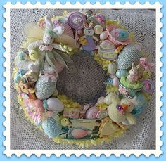 Easter wreaths, darn wish I still had some of my old Easter tree decorations! Love this!