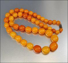 Egg Yolk Butterscotch Amber Bead Art Deco Necklace by boylerpf, $1100.00