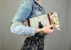 Southwestern Clutch Studded Kilim Clutch with Star Snaps on Etsy, $85.00