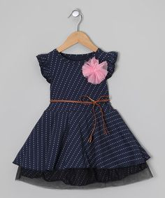 Navy & White Polka Dot Belted Dress - Toddler & Girls by Sweet Charlotte on #zulily