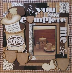 """Cricut Cartridges:    From My Kitchen:   Eggs, bread, container and text """"coffee""""    Cindy Loo:   title """"You complete Me!""""    Joys of the season:   """"coffee cups and steam!""""    Locker talk:   Puzzle pieces"""