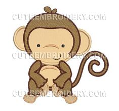 This free embroidery design is a monkey.  Thanks to Cute Embroidery for sharing it.