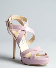 Jimmy Choo: lotus pink patent leather 'Vamp' crisscross platform sandals