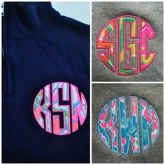 """1/4 zip lilly pullitzer fabric sweatshirt! Size medium gray sweatshirt with """"lobstah roll"""" fabric for the letters. monogram is """"tDk"""""""