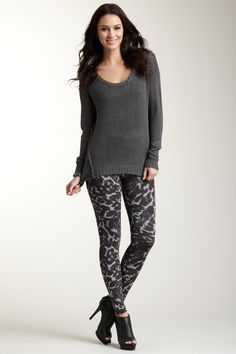 Printed Legging / Gray Sweater love just not in gray color how about blues and reds and browns