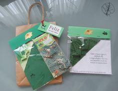 1. Kit marcador (papel) de livro + bloquinho com tsuru verde  2.marcador de livro (tecido) de tsuru verde 2014.