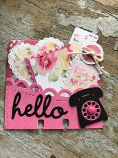 LOVE the little phone! Baby Mini Album, Album Scrapbook, Diy Crafts For Girls, Rolodex, Index Cards, Pocket Cards, Scrapbook Embellishments, Journal Cards, Kids Cards