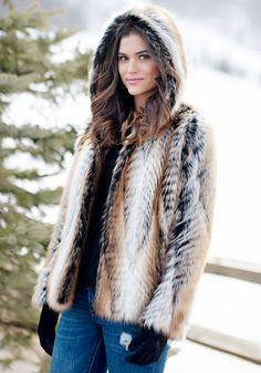 Lemur Hooded Faux Fur Jacket