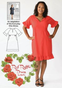 Sewing pattern for women from Sew Different. The Red Ruffle Dress is an adaptation of the Everyday Chic Dress. Easy to make with clear instructions and lots of advice and ideas on the blog post. Happy sewing!