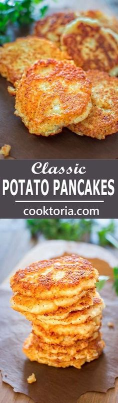 So simple, yet unbelievably tasty, these Classic Potato Pancakes are not to be missed! ❤ COOKTORIA.COM (Vegan Potato Dishes) Potato Dishes, Vegetable Dishes, Potato Recipes, Vegetable Recipes, Food Dishes, Vegetarian Recipes, Cooking Recipes, Vegetarian Pancakes, Vegetarian Breakfast