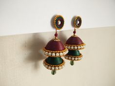 quilled indian tradition jhumkas Paper Quilling Jewelry, Quilling Earrings, Handmade Jewelry, Indian, Traditional, Drop Earrings, Polymer Clay, Jewellery, Quilling Jewelry