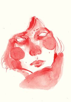 Red pen and watercolours - Pam Steenwijk