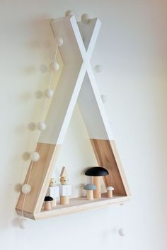 Teepee Shelf Kid s Shelf Tribal Nursery Decor Kid s Room Decor Wall Decor White