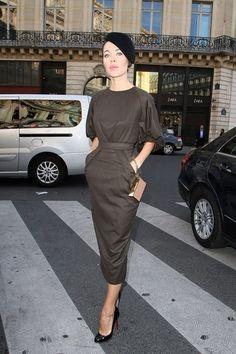 Ulyana Sergeenko, in Paris. The dress & shoes are amazing.