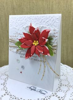 CC816 Holiday Poinsettia by Arizona Maine - at Splitcoaststampers Bethel Park, Christmas Holidays, Christmas Cards, Poinsettia Cards, Penny Black, Card Sketches, The Perfect Touch, Petunias, Flourish
