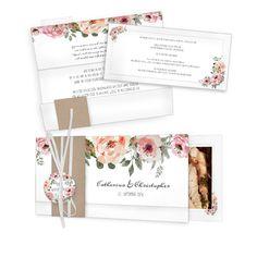 Außergewöhnliche Hochzeitseinladung mit malerischen Aquarellblüten und Kraftpapierbanderole. ❤ Ein wunderschöner Materialmix ❤ kostenlose Musterkarte