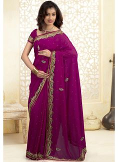 Deep Purple, Fuchsia Net Party Wear Saree