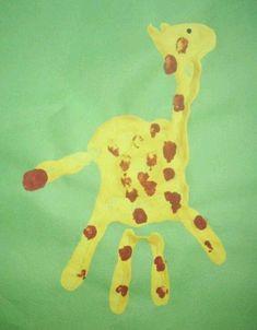 tolle bilder mit handabdruck   giraffe