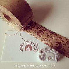 Stamp on Kraft tape - http://blog.goo.ne.jp/moge_rin/e/0dfb078eeee61e5c8bcaad3ed2804016