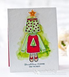 Christmas Pajama Tree Card by Betsy Veldman for Papertrey Ink (May 2016)
