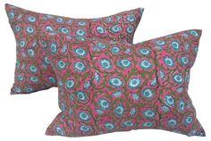 Hand-Blocked Indian Pillows,    Pair