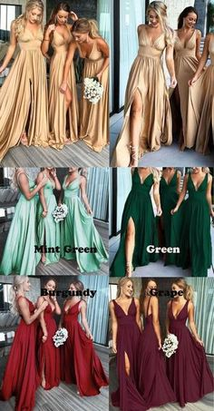 Sexy Mismatched Side Slit Long Gold Bridesmaid Dresses, - Sexy Mismatched Side Slit Long Gold Bridesmaid Dresses, Source by probridalshop - Champagne Bridesmaid Dresses, Gold Bridesmaids, Wedding Bridesmaid Dresses, Dream Wedding Dresses, Wedding Gowns, Bride Maid Dresses, Affordable Bridesmaid Dresses, Rosa Rose, Cheap Homecoming Dresses