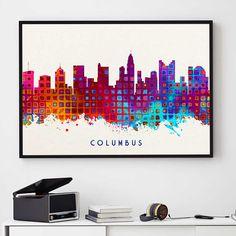 Columbus Skyline Print, Columbus Painting, Columbus Art, Columbus Wall Decor, Watercolor Columbus, Ohio Painting (N197) by PointDot on Etsy