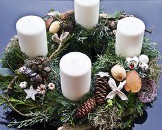 #advent #decoration #Adventskranz #beige #weiss #blue #white #whreat #christmas #Dekoration #Weihnachten #Floristik