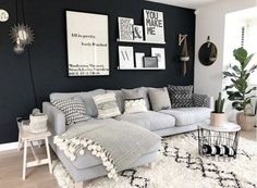 Love the dark wall. ❤ Love the dark wall. ❤ Love the dark wall. ❤ Love the dark wall. Home Living Room, Apartment Living, Interior Design Living Room, Living Room Designs, Cosy Grey Living Room, Cozy Apartment, Dark Walls Living Room, Scandi Living Room, Studio Apartment