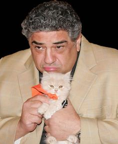 vincent pastore (from the sopranos) with cat. -Ilana
