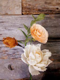 Abigail Bouquet: Quartet of Crepe Paper Flowers {Cream Peony, Peach Ranunculus, Golden Pod, Greens} Handmade Flowers, Diy Flowers, Wedding Flowers, Ranunculus, Peonies, Crepe Paper Flowers, Paper Roses, Paper Bouquet, Flower Market