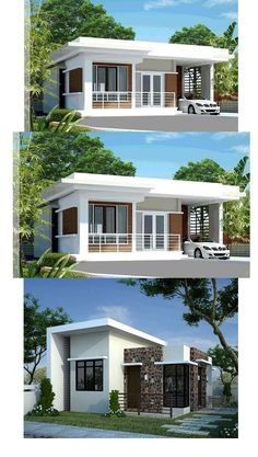 Below are 20 small house designs compiled to give you inspiration if you are looking for a small house to build. First image direct below is also featured in pinoyeplans complete with floor plans and [. Modern Bungalow House Design, Small Modern House Plans, Minimal House Design, Modern Small House Design, Modern House Facades, Beautiful House Plans, Simple House Design, Bungalow House Plans, Modern Bungalow Exterior
