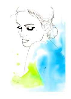 Print from original watercolor, india ink and pen fashion illustration by Jessica Durrant titled Earth Angel