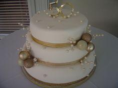 Golden 50th Wedding Anniversary Cake