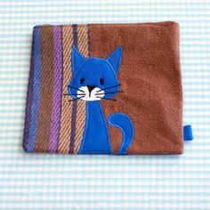 Blue Cat Zipper Pouch 2 Handmade in Norway Kawaii by Kuriosart