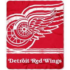 NHL Detroit Red Wings Throw Blanket Red White Fade Away Fleece Sports Hockey Stacked Colored Polyester Soft Touch Team Logo Perfect Living Room Nhl Red Wings, Detroit Red Wings, Red Wing Logo, Bold Logo, National Hockey League, Fleece Throw, Saturated Color, Polar Fleece, Red And White