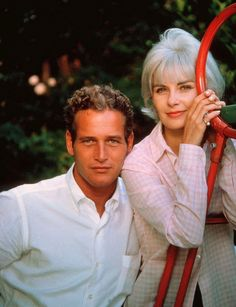 Paul Newman and wife Joanne Woodward in their backyard.