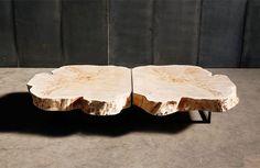 Table basse en bois massif rustique Arbre Slice PEUPLIER