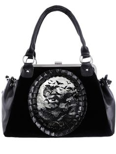 Gothic Girl Coven Handbag Collection! Gothic Vamp Flying Bats Black Velvet Cameo Kiss Lock Handbag This beautiful high quality Gothic handbag features flying bats digital print,surrounded with faux le
