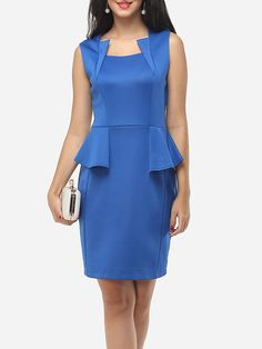 Plain Elegant Asymmetric Neckline Bodycon-dress