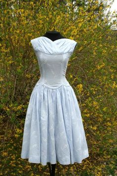 True Vintage Baby Blue 1950s Tea Dress 50s Full Skirt Pinup Dress | eBay