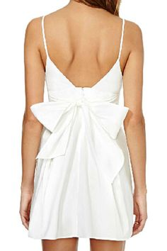 abaday Strapped Shoulder Self-tie Bowknot White Dress - Fashion Clothing, Latest Street Fashion At Abaday.com