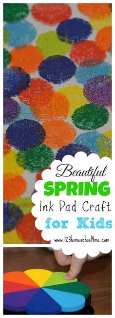 Beautiful Ink Pad Spring Craft for Kids - this is such a simple to make craft for toddler, preschool, kindergarten, and elementary age kids that produces such stunning results. Perfect for a rainbow spring craft or Easter craft for kids. TRY THIS!