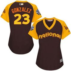 Dodgers #23 Adrian Gonzalez Brown 2016 All-Star National League Women's Stitched MLB Jersey