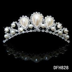 Wedding Bridal bridesmaid flower girls pearl rhinestone Hair Combs princess crown ** For more information, visit image link.