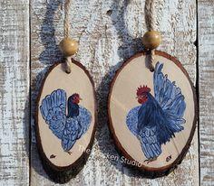 Chicken Ornaments Set of 2 Seramas Christmas by TheChickenStudio