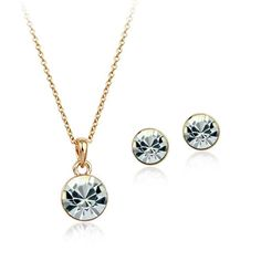 Authentic Austrian white crystal 18k gold plated pearl necklace earrings jewelry set [JS457] - US$6.30 : www.evernewfashion.com